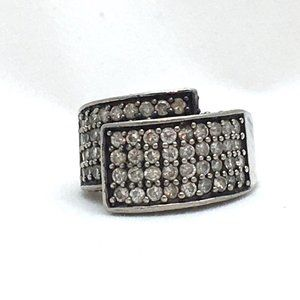 Jewelry - Overlap Crystal Sterling Silver Ring Multi Row